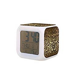 Contemporary Golden Black Python Snake Skin Electric Alarm Clock Night Light Nap Timer Sleep Sound Machine Temperature Detect with 7 Colors of Lights