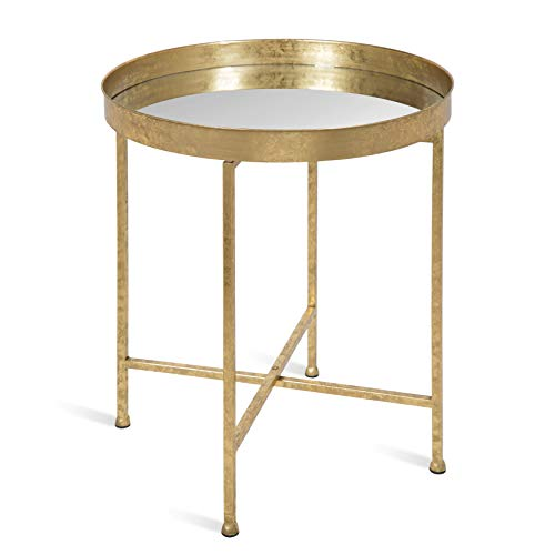 Kate and Laurel Celia Metal Foldable Round Accent Table, 18.25' x 18.25' x 22', Glass Surface and Gold Frame, Modern Minimalist Design and Detachable Magnetic Tabletop
