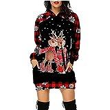 Vestido de Navidad con capucha para mujer, vintage, manga larga, sexy, para fiestas, Navidad, disfraz de renos, alce, camiseta de manga larga, informal, a cuadros, regalo festivo, rojo, M