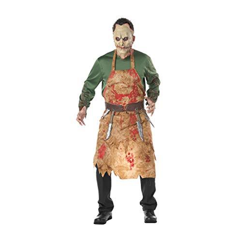 ZANZAN Disfraces de Halloween para Hombres Mens Trajes de Halloween Carnicero Sangriento Zombi Trajes de Halloween de Miedo Carnicero Ropa 4Pice Conjunto, Cosplay Delantal de Carnicero