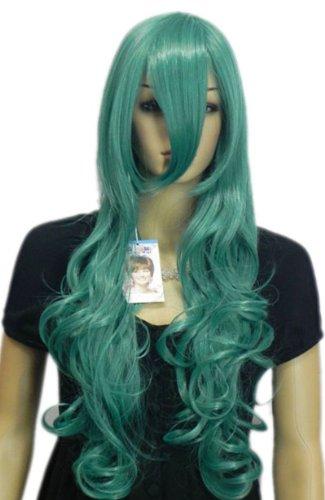 Qiyun Vert Longue Ondule Boucle Resistant a la Chaleur Fibre Synthetique Cheveux Complete Cosplay Anime Costume Perruque