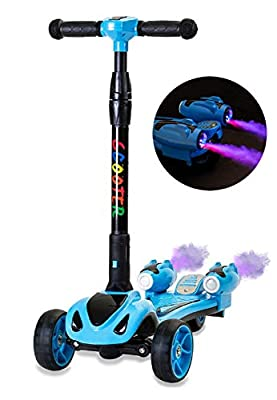 Glare Wheel Original Rocket Kids Kick Scooter, Music, 3 Color Lighted Wheels, Spray Vapor - Just Add Water, Sturdy Steering Handlebar, Stable Board, Adjustable Height & Folding Design (Blue)