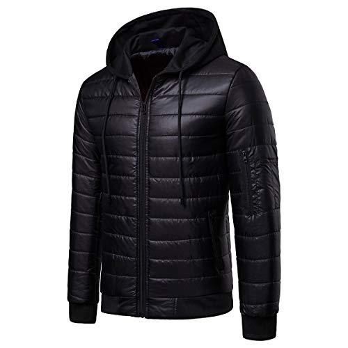 W&TT Men's Down Jacket, Hiver Plus Velours Chaud Manteau À Capuchon De Couleur Unie Veste De Sport en Plein Air Peut Être Stocké,Black,L