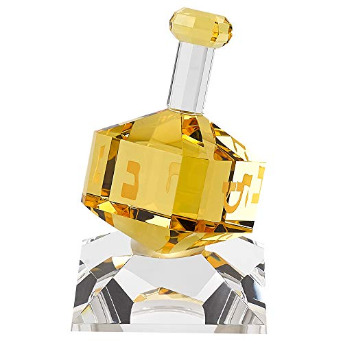 Badash Crystal Dreidel Figurine - 3' Tall Decorative Handcrafted Optical Crystal Dreidel in Amber on Clear Glass Stand - Special Judaica Gift & Home Accent