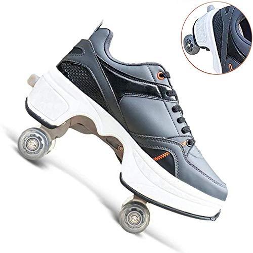 WEDSGTV Rollschuhe Madchen Verstellbar Multifunktionale Deformation Schuhe Roller Skates Lauflernschuhe, Verformung Quadlaufen Stiefel Skateboardschuhe,Grey-EU41/UK6.5
