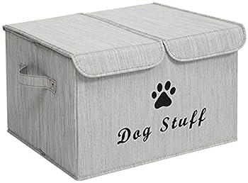 Morezi Grande boîte de rangement en toile pour jouets pour chat avec couvercle – Poubelle pliable parfaite pour organiser des jouets et accessoires – Bambou gris – Chien