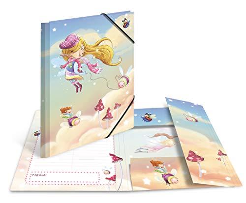 """HERMA 19831 Cartellina portadocumenti formato A3, """"Danza delle fate"""", in cartone resistente, con stampa interna completa, elastici, per bambini e bambine"""