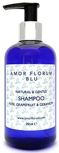 Natural CHAMPÚ - COCO, POMELO, ROSA & GERANIO - 250ml de AMOR FLORUM BLU. Sin Sulfatos, Sin Parabenos, Sin Silicona. Concentrado. pH 5.2-5.7 para Pieles Sensibles. 99,5% Derivado de Plantas.