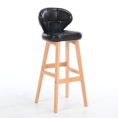Guo shop- Minimaliste, bois massif, cuir artificiel coussin bar réception européenne chaise en bois banc Vintage tabouret de bar hauteur 68cm Bonne chaise (Couleur : Noir, taille : B)