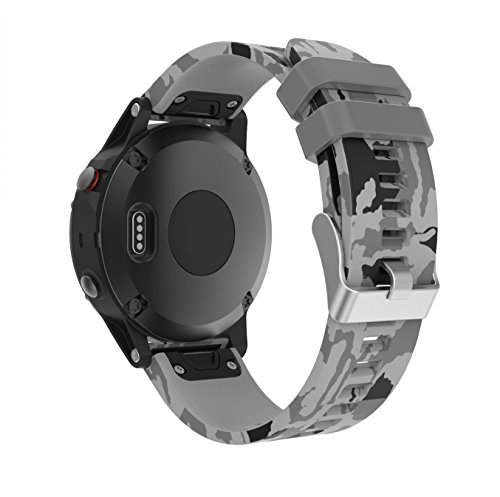 TOPsic Garmin Fenix 5 Armband - Silikon Sportarmband Uhr Armband Ersatzarmband mit Werkzeug für Garmin Fenix 5 Smartwatch (Pattern-d)
