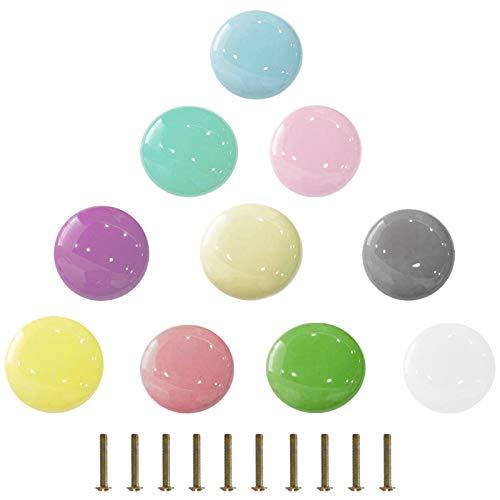 ManLee 10 Piezas Tiradores para Cajones Infantiles 35mm Pomos de Cerámica Colorido Pomos y Tiradores Multicolore Perillas de Muebles de Cerámica Cajón de la Habitación de los Niños con Tornillos