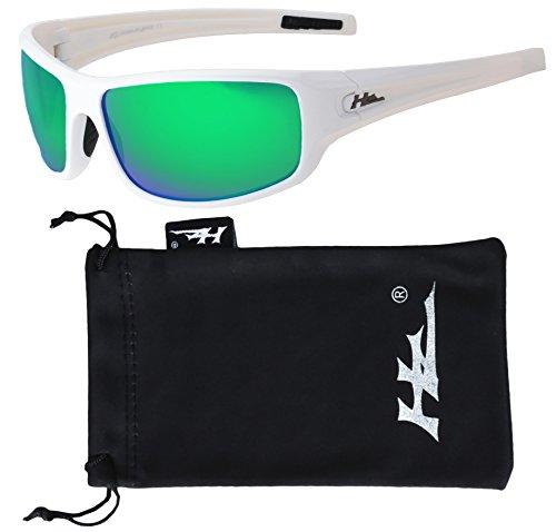 Hornz HZ Serie Arkana - Premium Polarisierte Sonnenbrille Gloss White Frame - Smaragdgrünes Spiegelglas