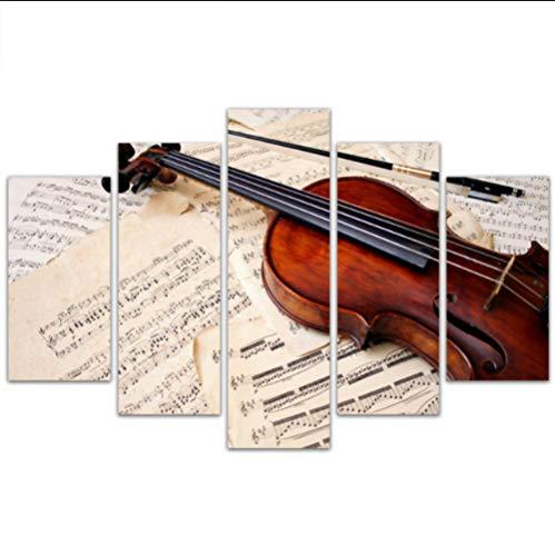 BAIMM Musikinstrument Violine Stimmung fünf gemeinsame Malerei Violine Wandhaupt Wohnzimmer Schlafzimmer Esszimmer dekorative Malerei.Gerahmt_30x50cmx2_30x70cmx2_30x80cm