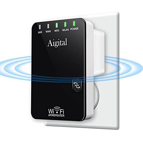 Aigital Ripetitore WiFi 2.4GHz WiFi Amplificatore Segnale Wi-Fi Range Extender 300Mbps Wireless WiFi Repeater con WPS, 2 * Porta Ethernet, Cavo RJ45, Supporta la Modalità Ripetitore / Router / AP