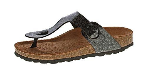 Natural Power Damen Zehentrenner Bio Pantoletten Leder-Tieffußett Sandalen Schuhe Latschen Orion-Schwarz Gr. 42