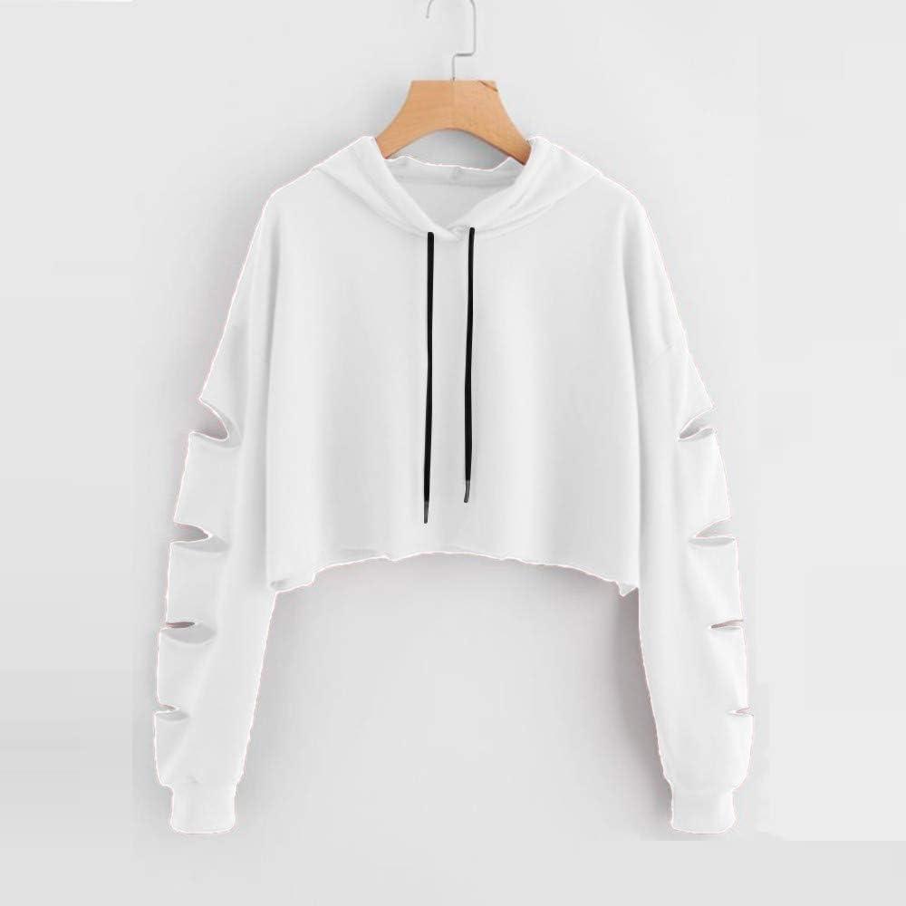 Crop Hooodies for Women Handyulong Womens Long Sleeve Sweatshirts Hollow Crop Tops Teen Girls Hooded Pullover Jumpers