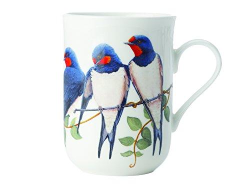 Maxwell & Williams Birds of The World Schwalbe, Geschenkbox, Porzellan, PBW1070 Becher, weiß, blau, 10.5 x 7.5 x 10.5 cm
