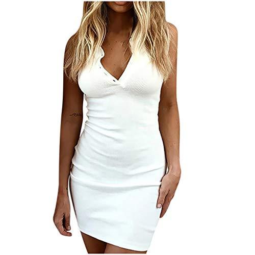 Fcostume Damen Kleid Sommerkleid V-Ausschnitt Ärmellos Einfarbig Spaghetti Strap Mini Swing Strandkleid