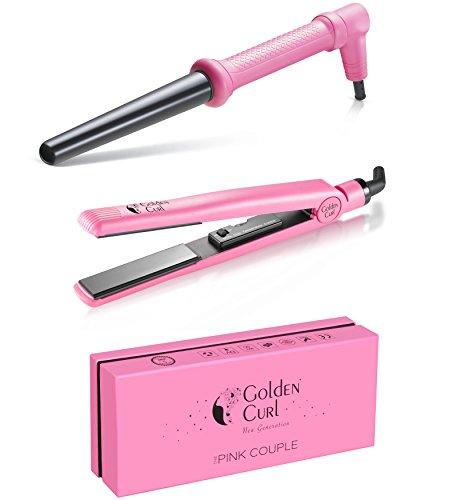 Golden Curl Haar Styling Set – außergewöhnliche 5 Jahres Garantie – Fortgeschrittenes Dual Voltage Mini Salon- Glätteisen & Lockenstab Kit Couple für alle Haartypen - 4