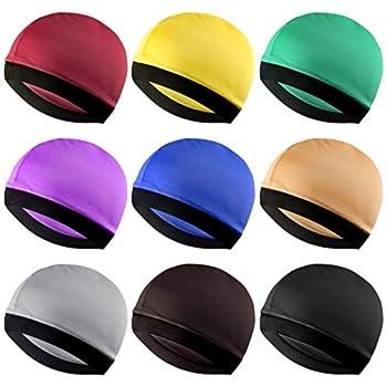 Fengek 9 Pcs Elastic Wave Caps for Men Silky Wave Caps Hats for 360 540 720 Waves 9 Colors