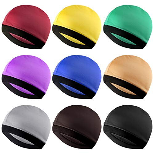 Fengek 9 Pcs Elastic Wave Caps for Men Silky Wave Caps Hats for 360 540 720 Waves, 9 Colors