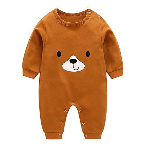 Trajes algodón Baby Boy Print Traje Oso marrón Mono