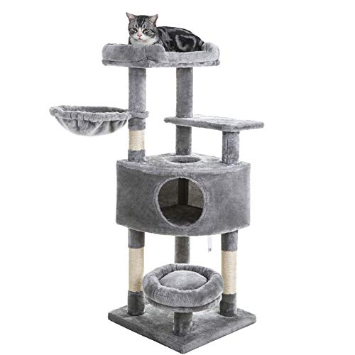 SUPERJARE Cat Tree Equipped with Spacious Condos amp Plush Perches MultiLevel Kitten Activity Tower with Scratching Posts amp Basket Lounger  Gray