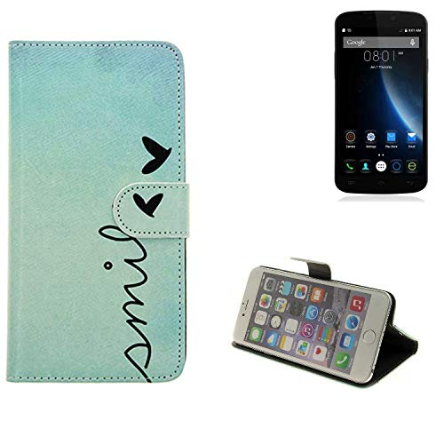 K-S-Trade® Schutzhülle Für Doogee X6S Hülle Wallet Case Flip Cover Tasche Bookstyle Etui Handyhülle ''Smile'' Türkis Standfunktion Kameraschutz (1Stk)