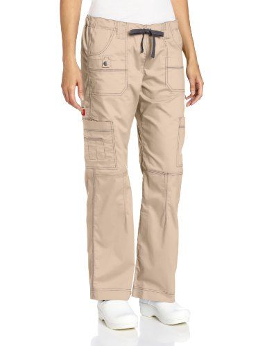 Dickies Women's GenFlex Cargo Scrubs Pant, Khaki, Medium Petite