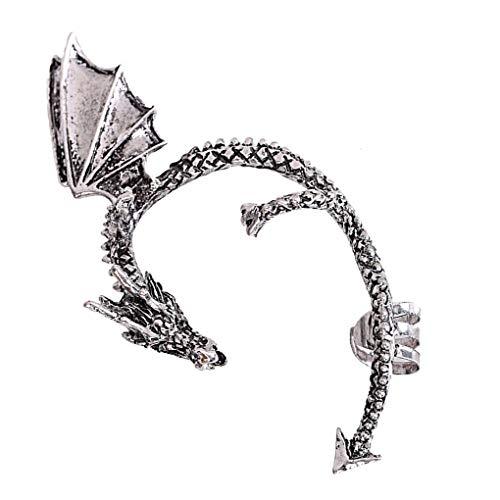 Guangcailun Las mujeres punk de la vendimia del oído pendiente de la aleación del manguito oído de la joyería del lazo Decoración, plata antigua