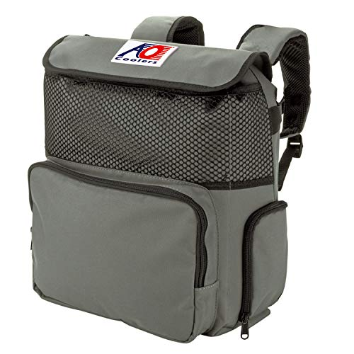 AO Coolers Backpack Soft Cooler with High-Density Insulation, Charcoal, 18-Can