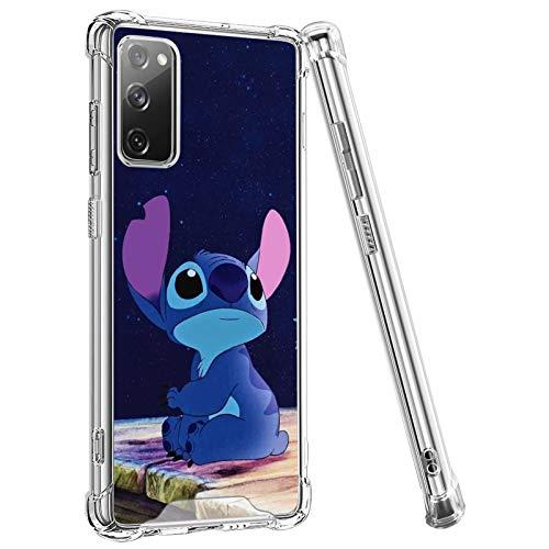 DISNEY COLLECTION Funda transparente diseñada para Samsung Galaxy S20 FE con protección antigolpes y reloj Stitch The Sky Case para Samsung Galaxy S20 FE