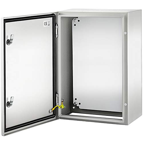 VEVOR Steel Electrical Box 24'' x 16'' x 10'' Electrical Enclosure Box, Carbon Steel Hinged Junction Box, IP65 Weatherproof Metal Box Wall-Mounted Electronic Equipment Enclosure Box with Mounting Plat