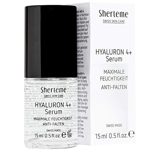 Sherteme HYALURON 4+ Hyaluronsäure Serum   Hautpflege für ein jüngeres Aussehen   1x15ml Gesicht-Serum mit 4 hochkonzentrierten kurz- & mittelkettigen Hyaluronsäuren   Kosmetik zur Anti-Falten Pflege