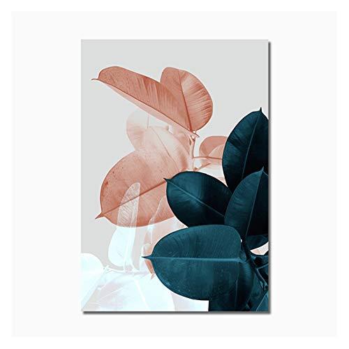 GKMM Pintura de flor de flor verde rosa Pintura de la pared de la pintura de la pared de la pintura del arte del arte y las impresiones de las impresiones de la decoración de la sala de estar 20x28inc
