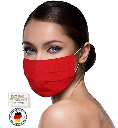 Unisex rote Stoffmasken Mundschutz Maske Stoff 100% Baumwolle Mund Nasen Schutzmaske mit Motiv Mund und Nasenschutz Maske waschbar ROT