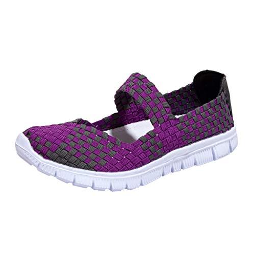 Frauen Damen Wasser Schuhe Woven Light Slip On Sportschuhe Casual Geflochtene Leichte Elastische GemüTlich Slip-On Loafers Turnschuhe Draussen Sport Wanderschuhe(Lila,40 EU)