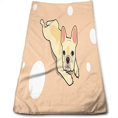Absorbent Hand Towels for Bathroom,Cute French Bulldog Lies On Floor,Light Weight Washcloth Multipurpose for Bath Face Hotel Spa Salon and Gym