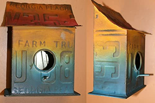 Salty Pelican Pack of 2 Hippie Birder Home Decor Handmade Colorful Tin Birdhouse, Free Rent