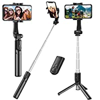 【Extendable & Foldable Selfie Stick for Cell Phone】This selfie stick tripod can be extended between 7.6 to 34 inches, which makes it very suitable for Photograph, Facetime, Business and more. Compact design to take this selfie stick everywhere you go...