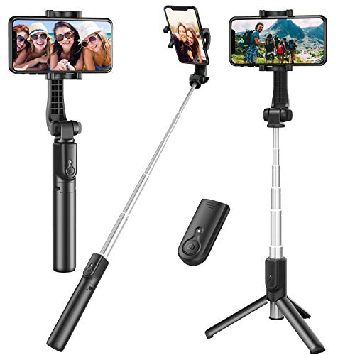 Selfie Stick, Extendable Selfie Stick Tripod with Detachable Wireless Remote and Tripod Stand Selfie Stick Compatible with All Cell Phone, Compact...