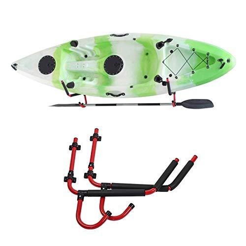 Estante de pared para kayak y tabla de surf, almacenamiento interior al aire libre, ganchos para colgar en la pared, soporte para muelle o soporte de pared, juego de cuna para canoa, tabla de remo,
