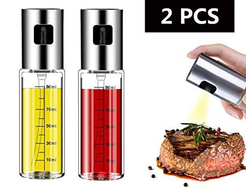 Nifogo Olie-sprayfles, oliefiltersprayer, oliefilters, flesje met schaalverdeling, azijn, spuit, oliedispenser, 100 ml, azijn, olie set dispenser voor BBQ, koken, grillen, pasta
