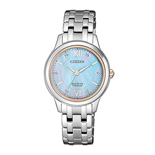 Citizen Reloj Analógico para Mujer de Cuarzo con Correa en Titanio EM0726-89Y