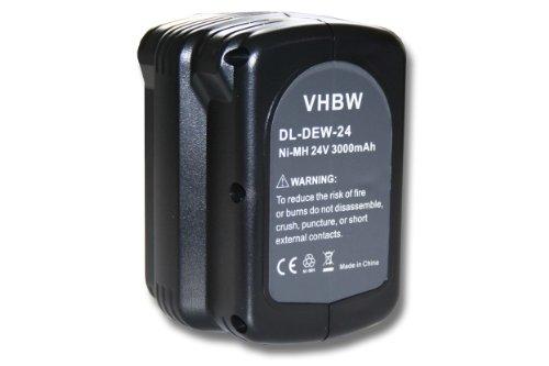 vhbw Batería Ni-MH 3000mAh (24V) para herramientas DC224KB, DW004, DW004K, DW004K-2, DW004K2C como Dewalt DE0240, DE0240-XJ, DE0241, DE0243.
