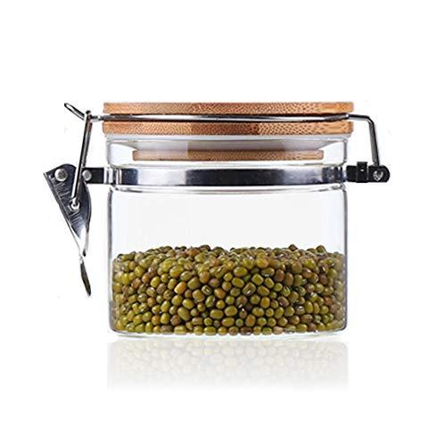 Usmascot glazen voorraadpot met bamboe deksel, bus van borosilicaatglas, siliconen afdichtring, snap lock glazen voorraadpot voor thee, koffie en meer (500ml)