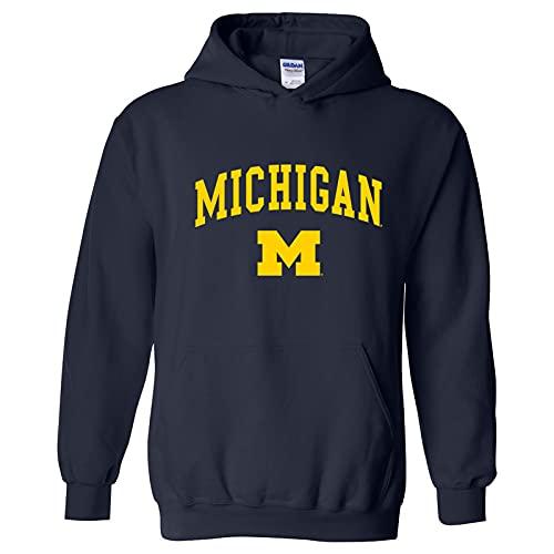 AH03 - Michigan Wolverines Arch Logo Hoodie - Small - Navy