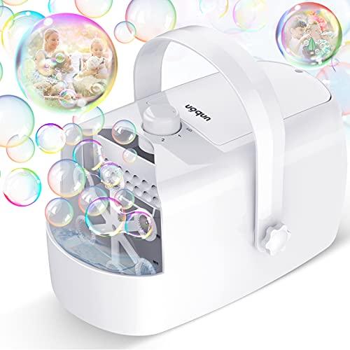 UNBON Máquina de burbujas, soplador automático eléctrico con 2 modos de alimentación a pilas, dispositivo de burbujas de jabón portátil profesional para niños, bodas, cumpleaños o exteriores