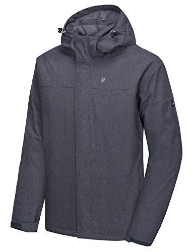 Little Donkey Andy Chaqueta de esquí y snowboard para hombre, resistente al viento, cálida, con capucha desmontable, color negro, M