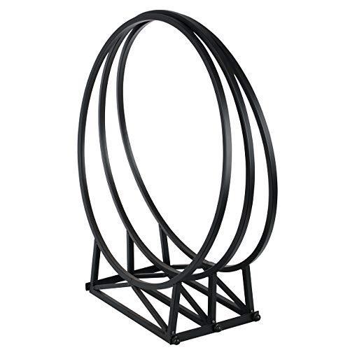 RM Design Kaminholzregal für außen und innen 55 cm breiter Kaminholzständer Feuerholz rund Metall schwarz